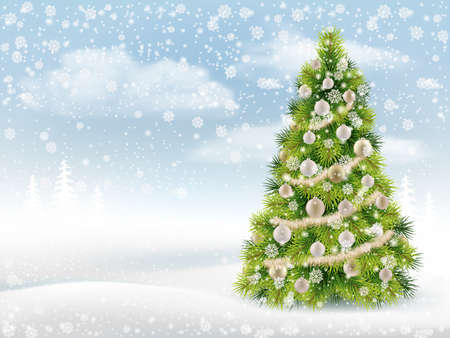 Winter background with decorated Christmas tree, snowflakes and snow drifts. Realistic vector for card design.