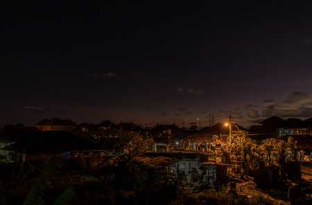 Night scene landscape of balinese village. Tropical island Bali, Indonesia.