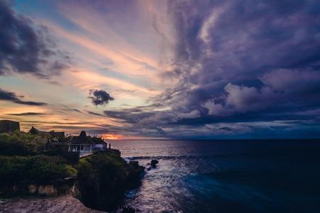 nusa: Panorama of awesome tropical sunset at Nusa Lembongan island, Bali, Indonesia.