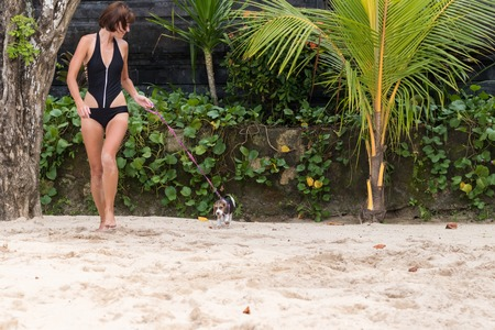Young attractive girl with her pet dog Beagle at the beach of tropical island Bali, Indonesia. Happy moments. Stock Photo