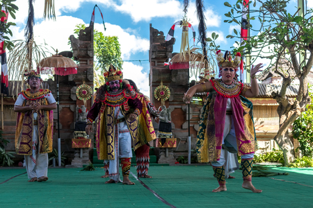 BALI, INDONESIA - MAY 5, 2017: Barong dance on Bali, Indonesia. Barong is a religious dance in Bali based on the great Hindi epics of Ramayana.