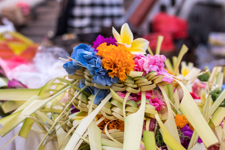 ubud: Offerings to gods in Bali with flowers. Exotic tropical Bali island, Indonesia. Stock Photo