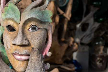 wood texture: Face wood handmade.Sculpture on the tropical Bali island, Indonesia