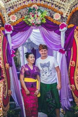 BALI, INDONESIA - OCTOBER 23, 2017: Woman and man Wedding ceremony, balinese wedding.