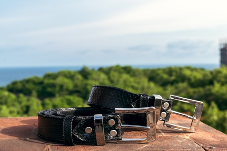 Fashion luxury snakeskin leather belts outdoors. Python belts on a tropical background. Indonesia, Bali.