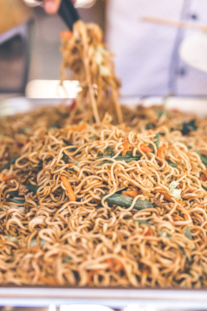 Indonesian food, mie goreng ayam, fried noodles with chicken. Bali, Indonesia. Stockfoto