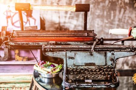 Close up of typewriter vintage retro styled. Stock Photo
