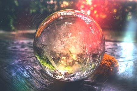 Beautiful crystal ball or an abstract circle. Magic ball.
