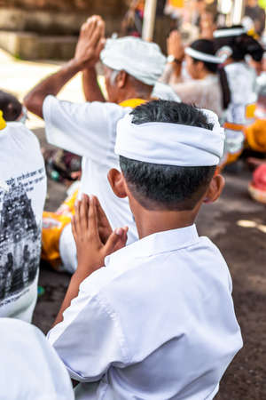Balinese boy on a traditional ceremony. Bali island. Indonesia.