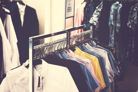 Men clothes in the store. Men clothing. Men fashion concept.