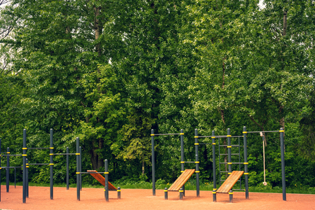 Fitness ground outdoors. Cross fit ground in the park.