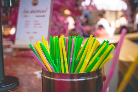 Set of colorful plastic straws, straw background, cocktail straw.