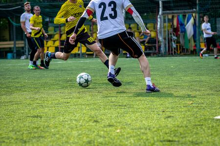 MOSCOW, RUSSIA - AUGUST 24, 2019: Soccer players in game. Amateur league in Russia.