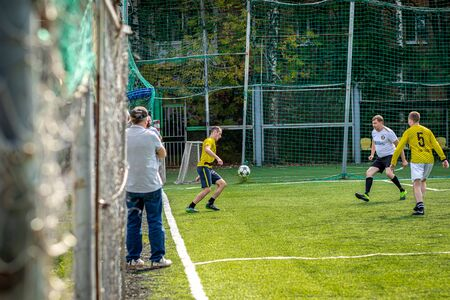MOSCOW, RUSSIA - AUGUST 24, 2019: Soccer players in game. Amateur league in Russia. Redactioneel