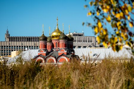 Russian church at autumn time. Russian architecture, Moscow city.
