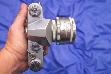 Old vintage retro camera. Photography equipment. Lens. 版權商用圖片