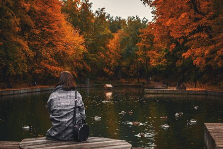 Back view of woman sitting on old wooden pier over calm pond in the park. Autumn background. Stockfoto