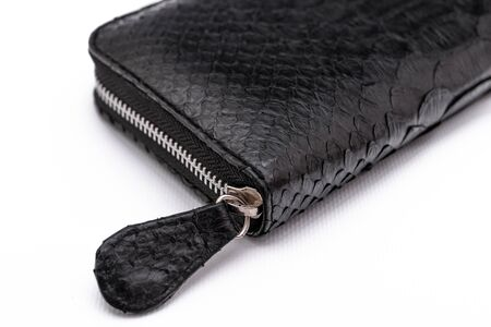 Fashion luxury snakeskin python wallet isolated on a white background. Leather wallet.