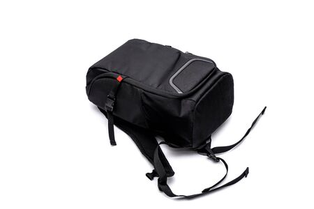 Isolated photo backpack. Backpack for photographers, white background.