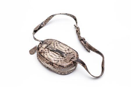 Mode Luxus Schlangenleder Python Tasche isoliert auf weißem Hintergrund.