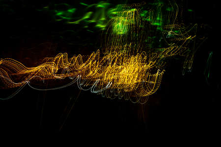 Long exposure background. Urban light painting. Abstract lines.