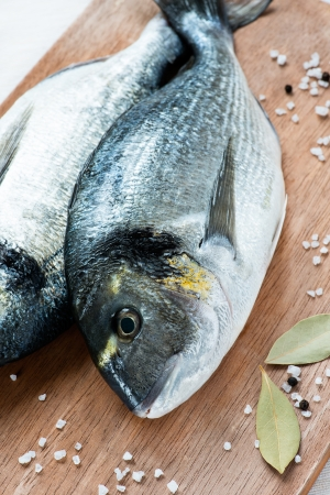 bay leaf: Fresh dorada fish with sea salt and bay leaf over wooden background, closeup, selective focus Stock Photo