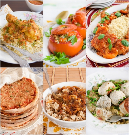 middle eastern food: Collage of Middle Eastern food. Includes lahmacun, meatballs, stuffed tomatoes, rice with lentils, braised chicken, tajine