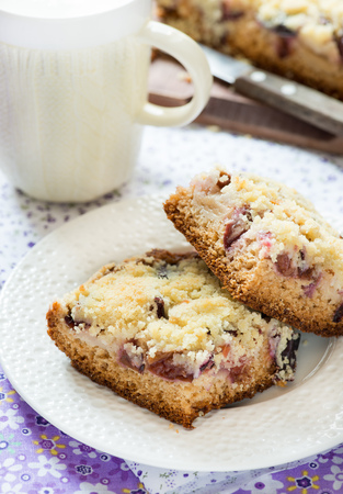 Fruit cake with streusel on plate with cop of milk, selective focus photo