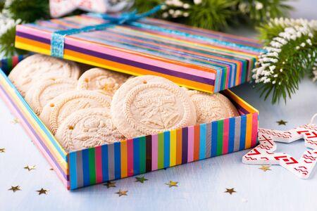 german swiss: Springerle - swiss and german Christmas cookies in gift box, selective focus