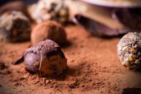 cioccolato natale: Assortiti tartufi di cioccolato fondente con cacao in polvere, biscotti e le nocciole tritate su carta da forno, messa a fuoco selettiva, close up