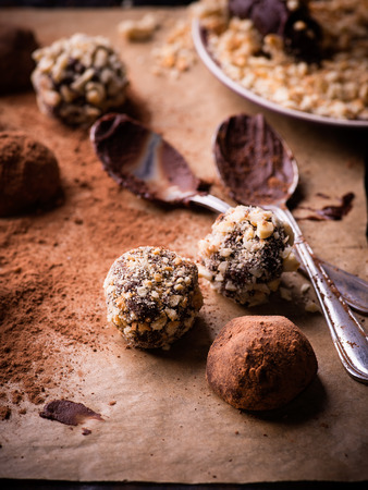 cookies: Assorted dark chocolate truffles with cocoa powder, biscuit and chopped hazelnuts over baking paper, selective focus