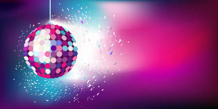 new year s eve: pink-blue background with a New Year s Eve ball Illustration