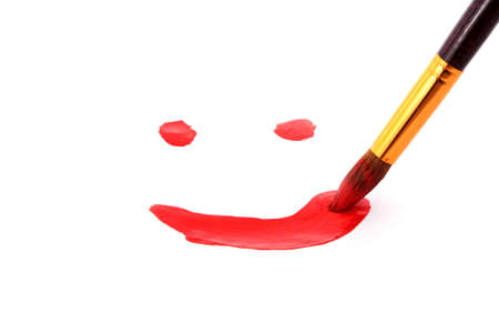 brush paints smile on peper photo