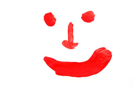 red paints smile on peper photo