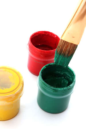 paint buckets with brush photo
