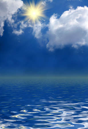 sunny sky background and water Stock Photo - 6197352