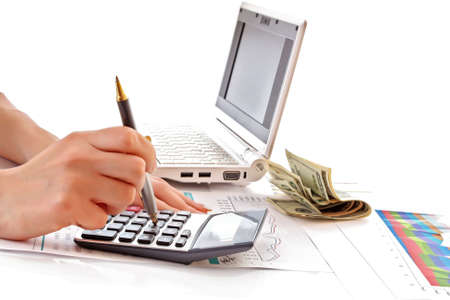 financial growth: Calculation of financial growth and investment Stock Photo