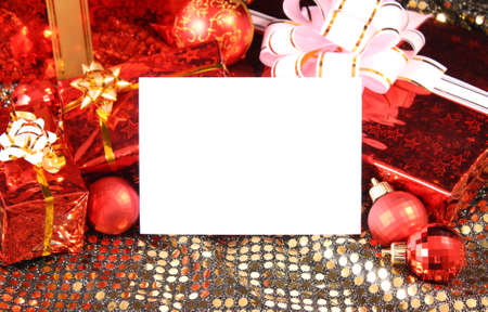 Christmas presents, bulbs and decoration photo
