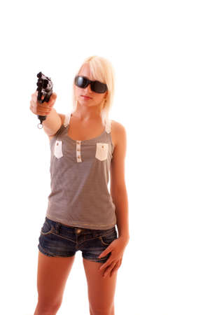 Sexy Woman Holding Gun over white photo