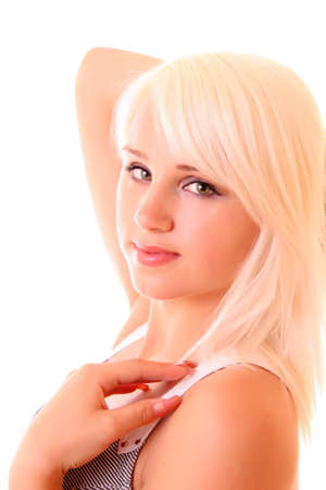 platinum hair: portrait of a beautiful blonde girl Stock Photo