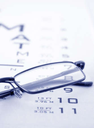 Glasses on test chart Stock Photo - 6259875