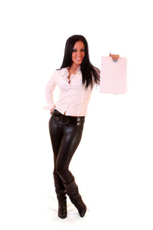 Portrait of a beautiful young brunette woman holding a blank billboard Stock Photo - 6255470