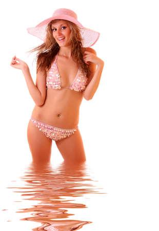 Sexy blonde model in pink bikini Stock Photo - 6255514