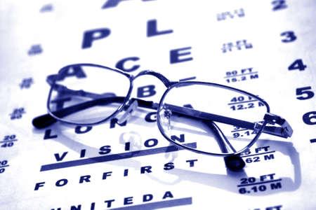 Glasses on test chart