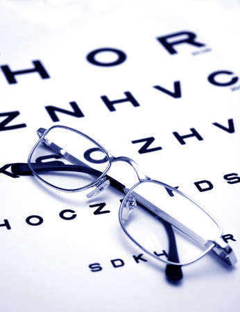 Glasses on test chart Stock Photo - 6260035
