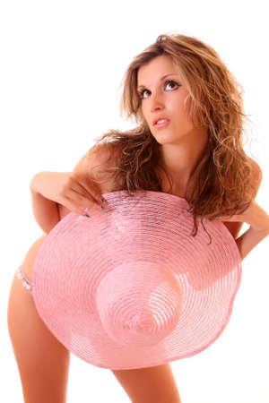 Sexy blonde model in pink bikini photo