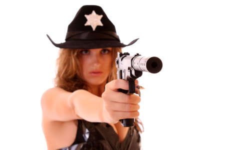 Beautiful sheriff woman on white background photo
