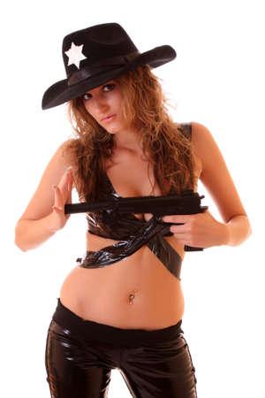 Beautiful sheriff woman on white background Stock Photo - 6270961