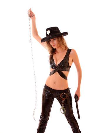 Beautiful sheriff woman on white background Stock Photo - 6270995
