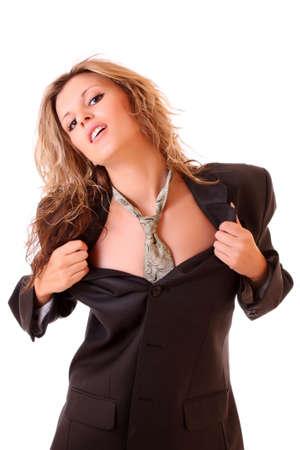 mujer con corbata: Bella joven en traje de hombre de negocios y corbata sobre blanco Foto de archivo